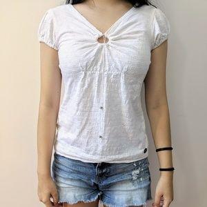 Calvin Klein White T-Shirt Blouse, Dotted Texture